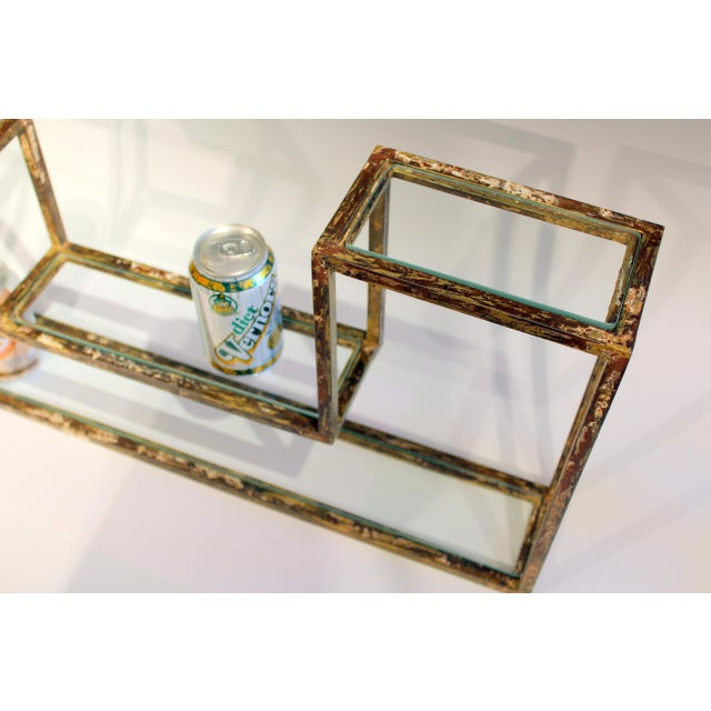1960s Mid-Century Modern Display Shelf Glass Steel Case Tabletop Curio Gilt For Sale - Image 10 of 12