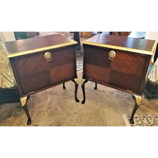 Chippendale Mahogany With Gilt Accents Side Tables / Nightstands - a Pair For Sale - Image 11 of 13