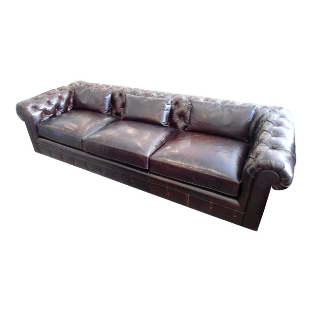 Kravet Chesterfield 3-Seat Sofa, Brown Tufted Leather For Sale