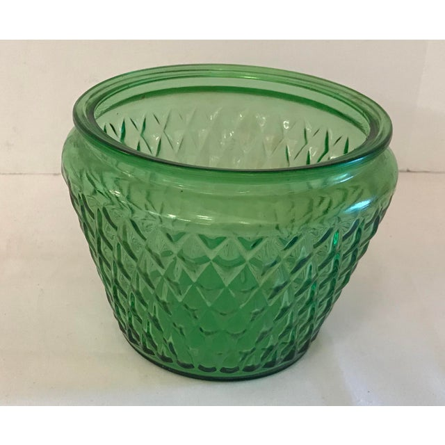 Mid-Century Modern Mid Century Green Glass Patterned Vase/Planter For Sale - Image 3 of 8