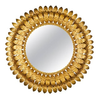 French Mid-Century Modern Sunburst Mirror with Back Light