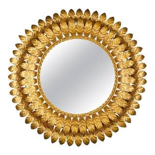 French Mid-Century Modern Sunburst Mirror with Back Light