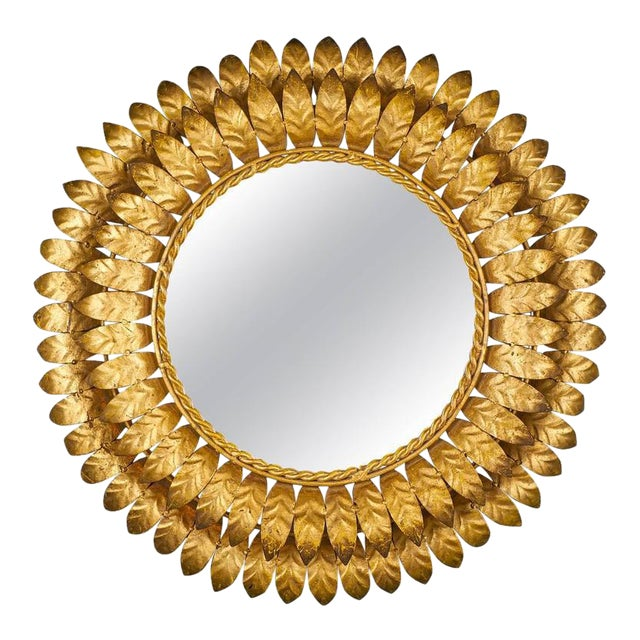French Mid-Century Modern Sunburst Mirror with Back Light For Sale