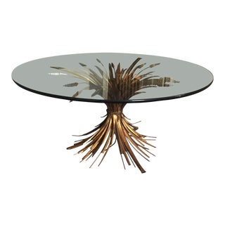 Mid-Century Round Glass Coffee Table With Gold Gilt Wheat Sheaf Base