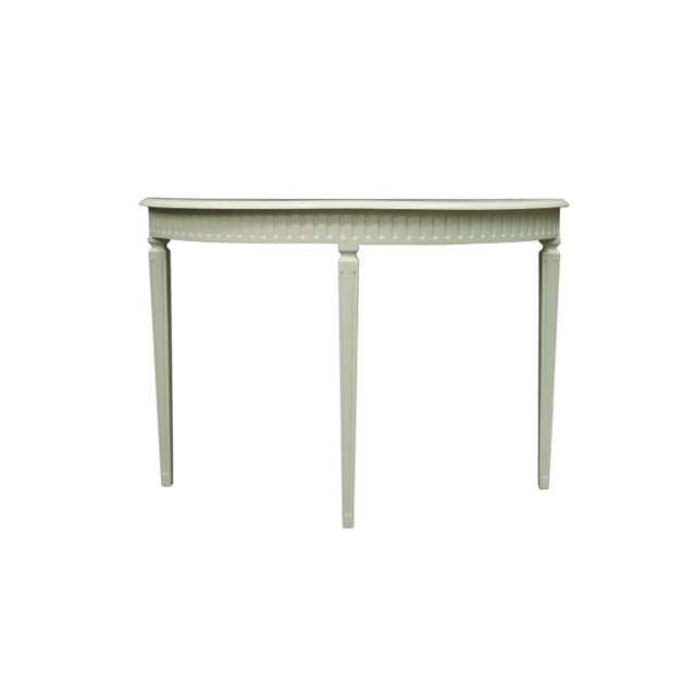 Matte White Finish3 Legged Semi-Circle Console Table With Tapered Legs For Sale In New York - Image 6 of 6