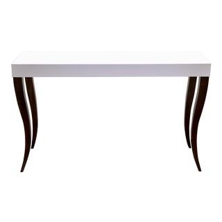 Gabrielle Console Desk Sofa Hall Foyer Table - White Top With Brown Cabriole Flared Legs For Sale