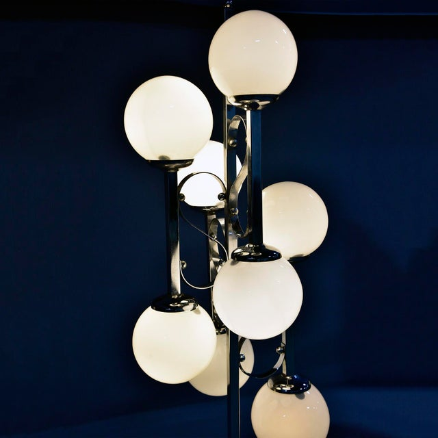 Mid-Century Italian Chrome Floor Lamp With White Glass Globes For Sale - Image 10 of 13
