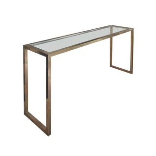 1970s Brass and Chrome Console by Jean Charles For Sale