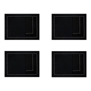 Black Linen Placemats and Dinner Napkins with White Hemstitch - 8 Pieces For Sale