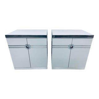 Pair of Pierre Cardin White Veneer and Chrome Nightstands for Dillingham For Sale