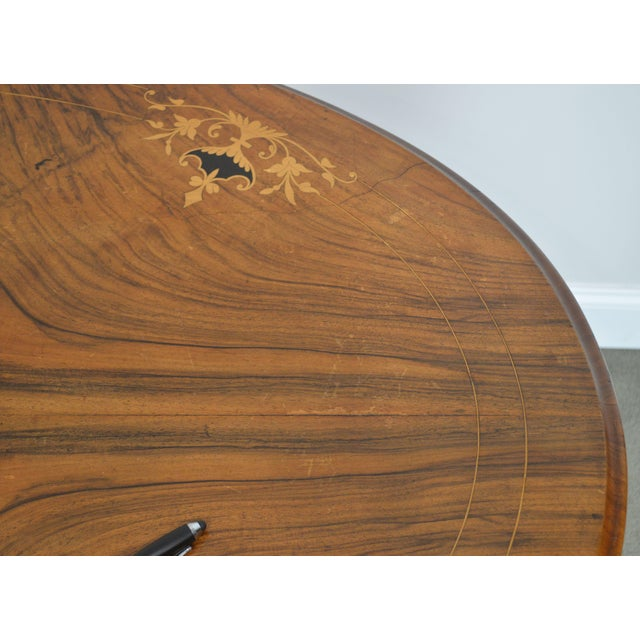 Antique Burl Walnut Victorian Inlaid Oval Parlor Table For Sale - Image 10 of 13