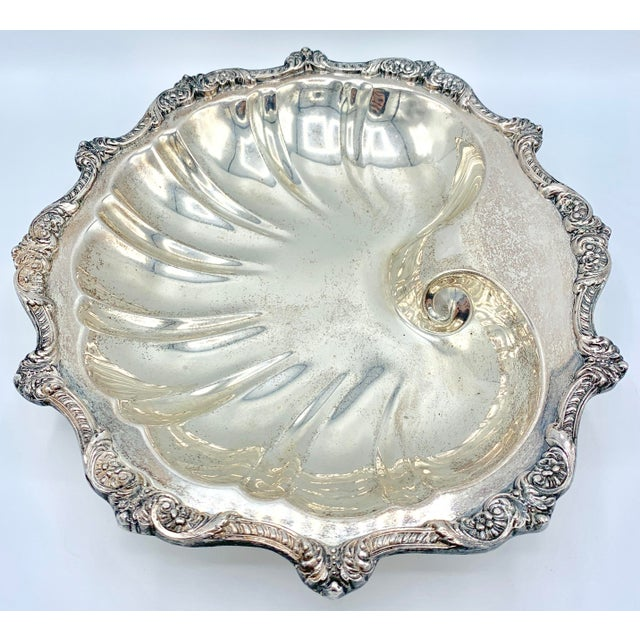 Silver Large Silver Plate Footed Clam Shell Dish For Sale - Image 8 of 12