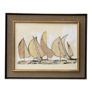 Mixed Media Modern Minimalist Sailboat Painting Signed For Sale