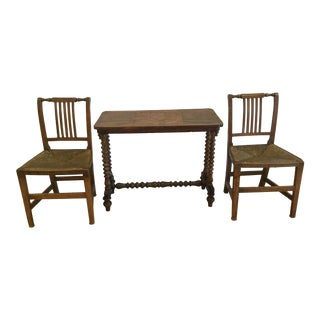 19th Century English Traditional Game Table and Rush Seat Chairs - Set of 3