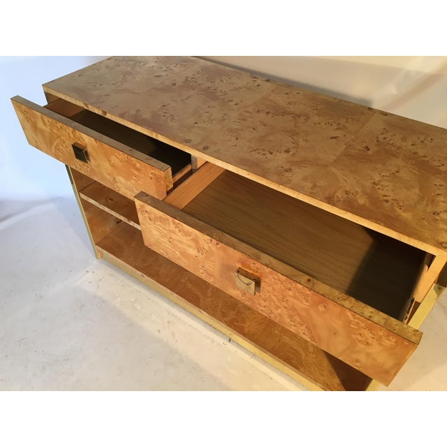 Burl Wood and Brass Rolling Server For Sale - Image 6 of 10