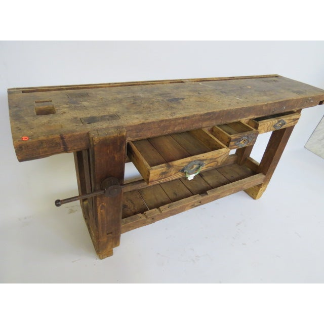 Antique 1900s Industrial Work Table - Image 4 of 6