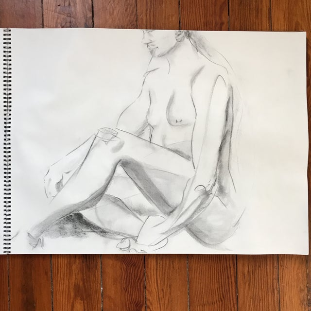 """Loose, figural drawing of nude by artist Alice Houston Miles, 2013. Charcoal on heavyweight paper. Measures 18"""" x 24""""...."""