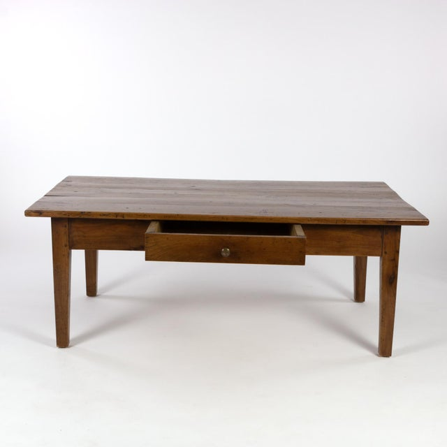 1870 French Walnut Low Table With Center Drawer For Sale - Image 4 of 8