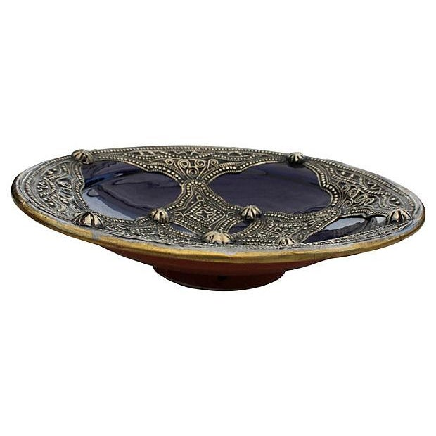 This handcrafted decorative glazed ceramic bowl is stunning! This piece has fabulous details and features ornate Berber...
