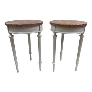 Pair Hollywood Regency Marble Top Side Tables For Sale