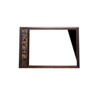 19th Century Chinese Custom Made Rosewood Mirror With Gilded Gold Carving For Sale