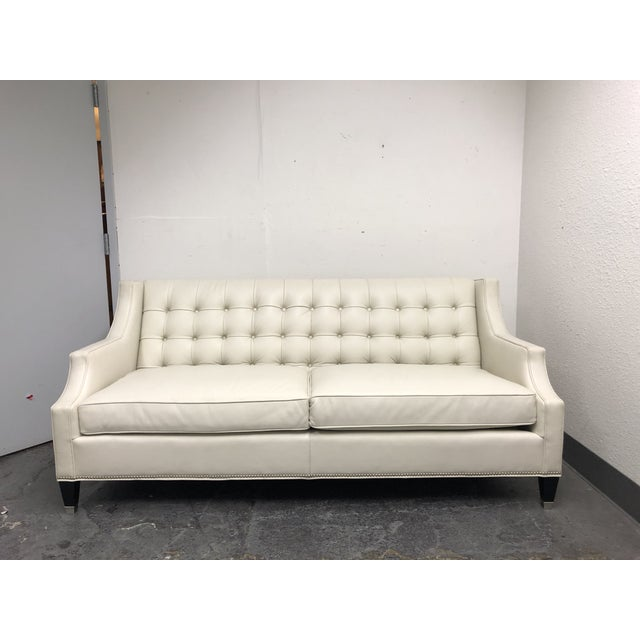 Leathercraft 1410 Harper White Leather Sofa For Sale - Image 13 of 13