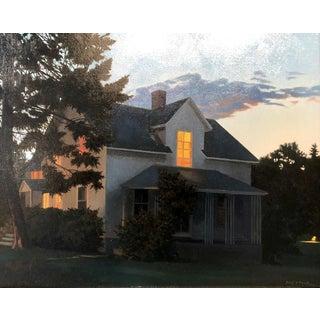"""""""June Evening Lit Windows"""" origianl Oil on board by Kathleen Kolb For Sale"""