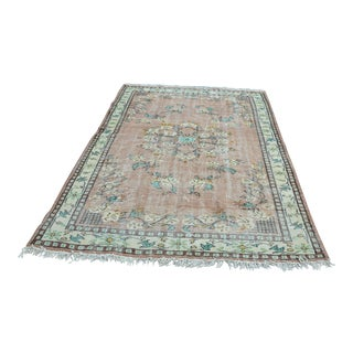 Modern Turkish Oushak Handwoven Boho Turquoise and Brown Wool Floral Rug