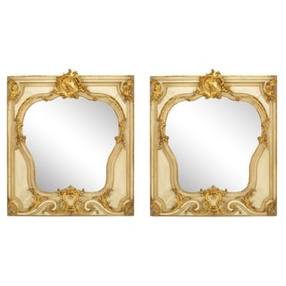 19th Century French Louis XV Style Gilt and Beige Painted Wall Mirrors-a Pair For Sale