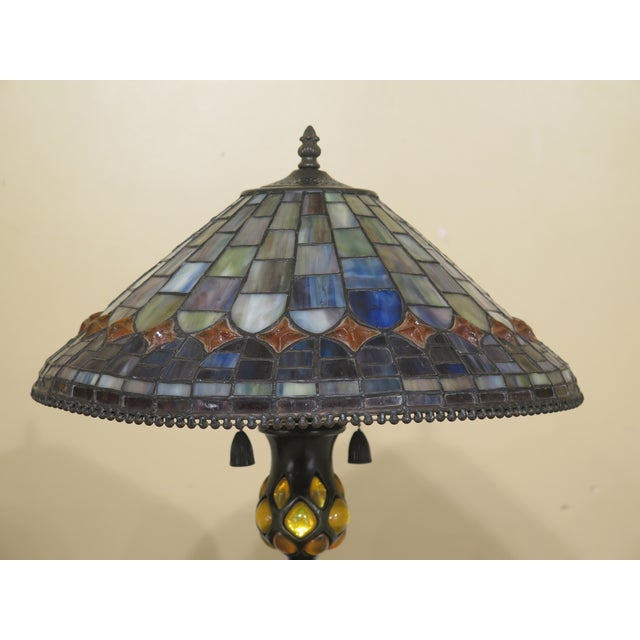 Age: Approx: 20 Years Old Details: High-Quality Construction Stunning Stained Glass Shade Bronze Finish Base Condition:...