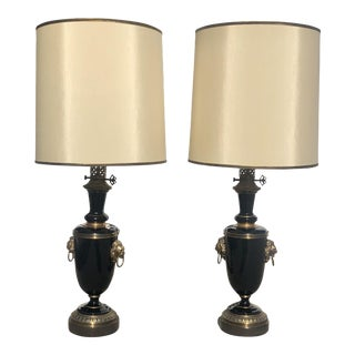 1950s Paul Hanson Hollywood Regency Lacquer and Brass Lionshead Lamps - a Pair For Sale