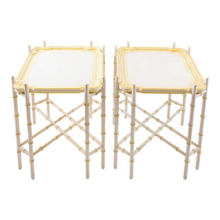 Baker Mid-Century Chinoiserie Yellow Trimmed Faux Bamboo Tray Tables - A Pair For Sale