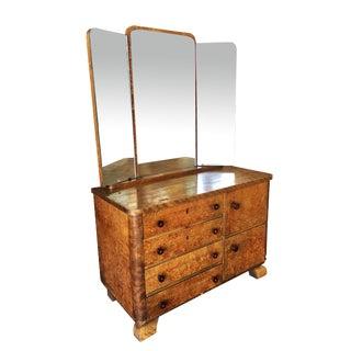 Art Deco Burlwood Dresser W/Tri-Fold Mirror For Sale