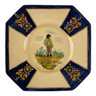 1940s Vintage Hb Quimper Small Plate For Sale