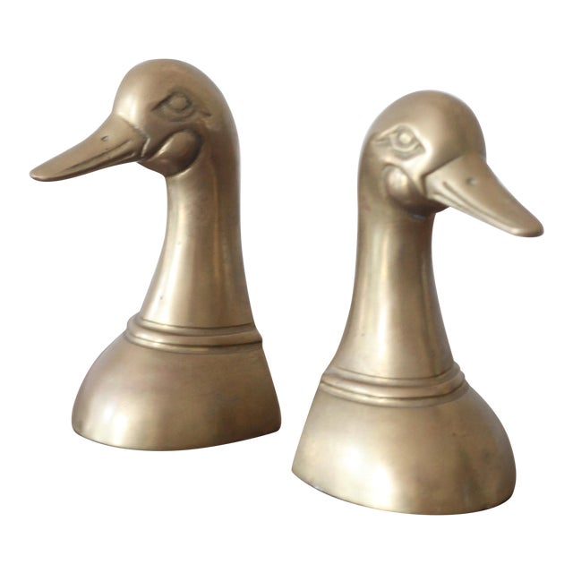 Brass Duck Head Bookends - Pair - Image 1 of 4