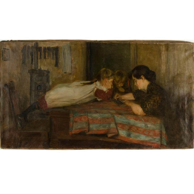 """Realism 19th Century """"Family Time"""" Figurative Oil Painting For Sale - Image 3 of 11"""