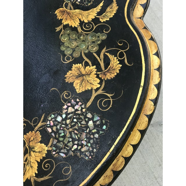 Mid 18th Century Napoleon III Period Chinoiserie With Abalone and Mother of Pearl Inlay Pedestal Tea Table For Sale - Image 5 of 8