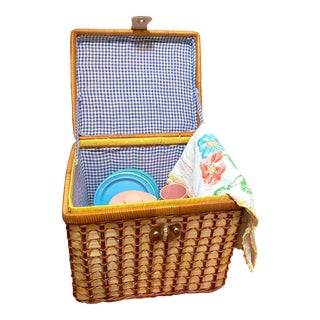 1970's Vintage Wicker and Rattan Curated Picnic Basket For Sale