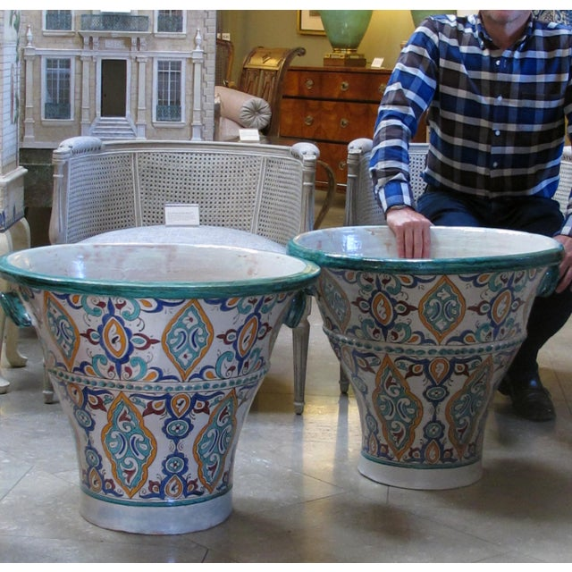 A Large and Vibrantly Glazed Pair of Moroccan Conical-Form Double-Handled Pots; Purchase in Fez, Morocco For Sale - Image 4 of 5