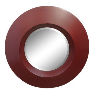 Contemporary Round Red Lacquer Wall Mirror For Sale