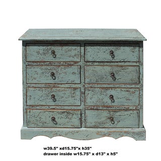 Solid Wood Distressed Crackle Gray 8 Drawers Dresser Cabinet Preview