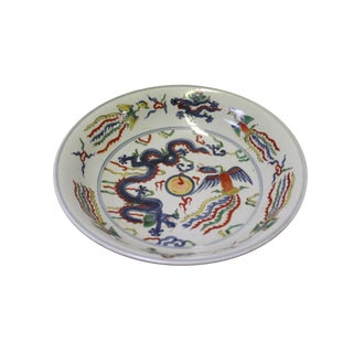 Chinese Phoenix Dragon Fengshui Color Painting Porcelain Plate For Sale