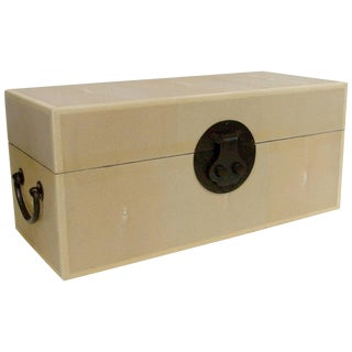Ivory Shagreen Wood Box For Sale