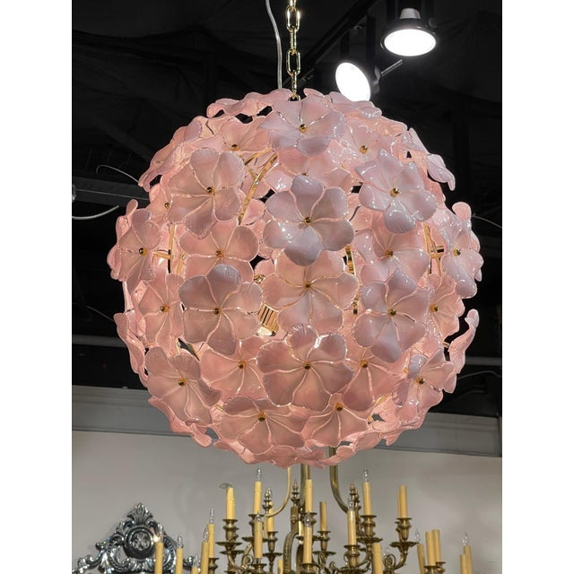 Modern Murano Pink Flower Globe Chandeliers For Sale - Image 4 of 7