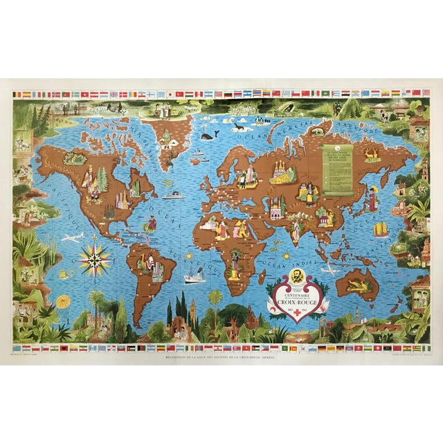 1963 Illustrated Vintage World Map, Centenary of Red Cross (Croix Rouge, 1863 - 1963) For Sale - Image 9 of 9
