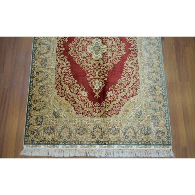 Hand Knotted Turkish Silk Rug - 4′1″ × 5′11″ - Image 7 of 9
