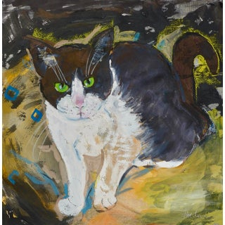 Contemporary Painting, Contemporary Green Eye Cat Portrait For Sale
