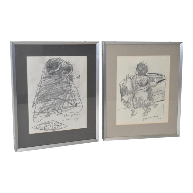 John Young Graphite Drawings - Pair For Sale