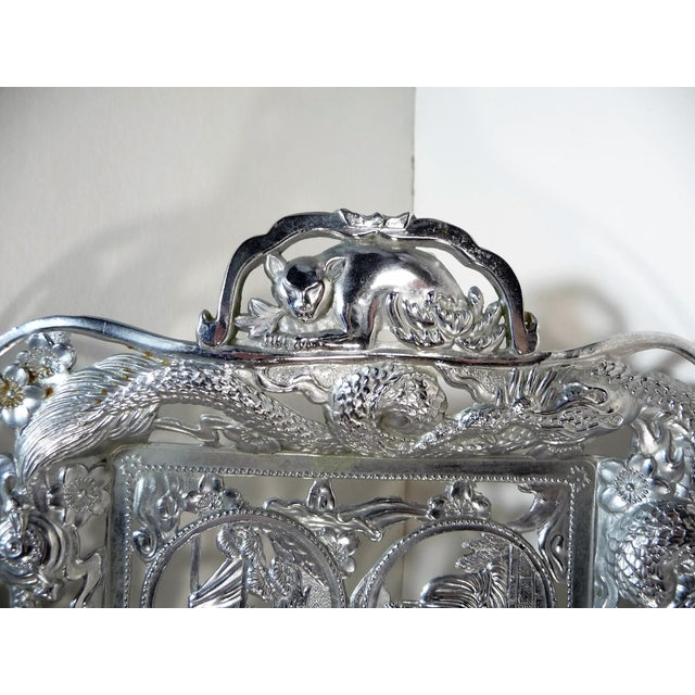 Asian Vintage Asian Dragon Theme Chrome Tray With Matching Cobalt Cordial Glasses - Set of 7 For Sale - Image 3 of 11