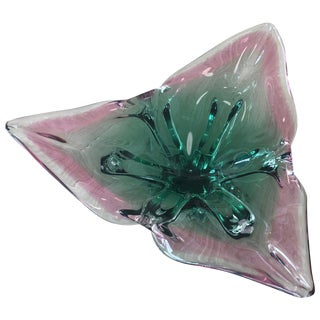 Heavy Signed 1960s Murano Glass Bowl Triangle-Shaped Green and Pink For Sale